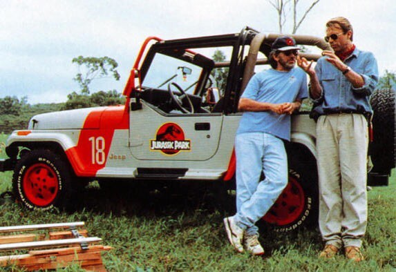 Sam Neill and Steven Spielberg behind the scenes of 'Jurassic Park' (1993)