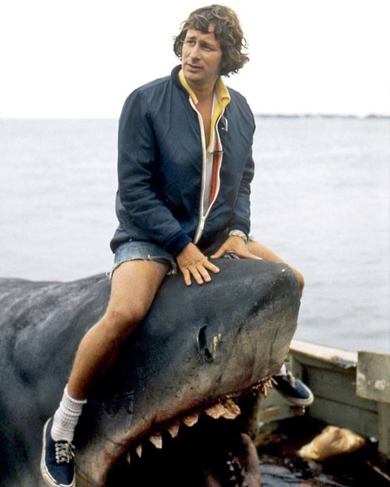 Steven Spielberg on the set of 'Jaws' (1975)