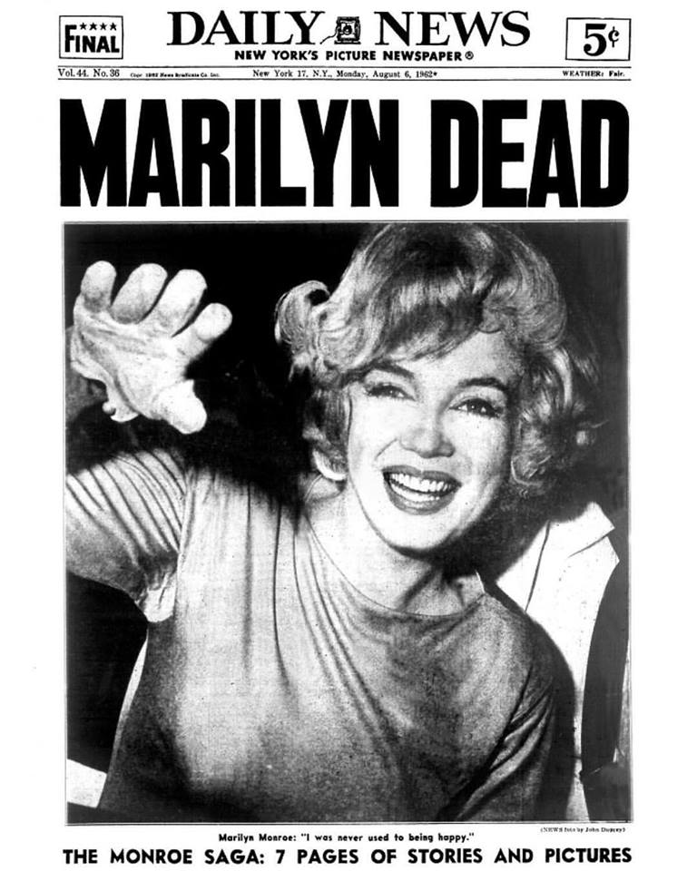 New York Daily News highlights Marilyn Monroe's death. August 6, 1962