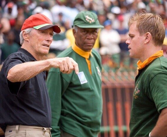 Clint Eastwood directing Morgan Freeman and Matt Damon in 'Invictus' (2009)