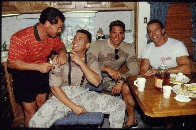 Arnold Schwarzenegger visits the set of