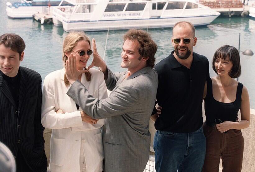 Quentin Tarantino and the cast of Pulp Fiction (John Travolta, Uma Thurman, Bruce Willis and Maria de Medeiros) at the 1994 Cannes Film Festival