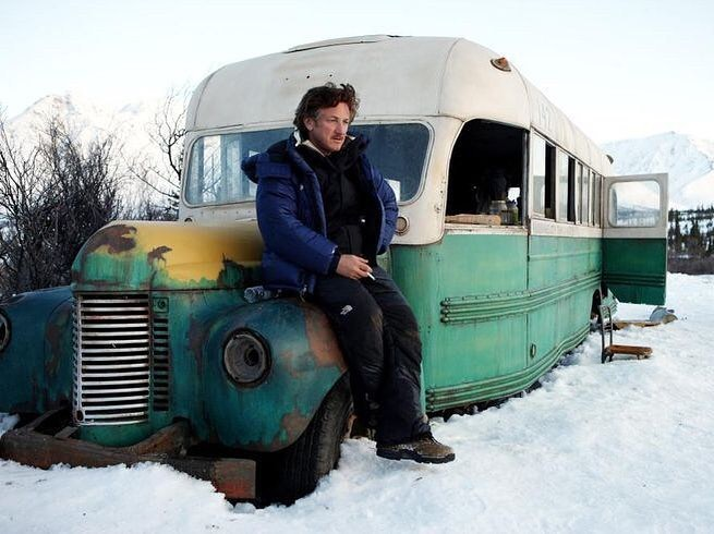 "Sean Penn sitting on the Fairbanks Bus, aka ""Magic Bus"", in the set of 'Into the Wild' (2007). Written and directed by Sean Penn, music by Eddie Vedder"