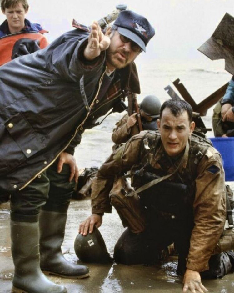 Steven Spielberg and Tom Hanks behind the scene of 'Saving Private Ryan' (1998)