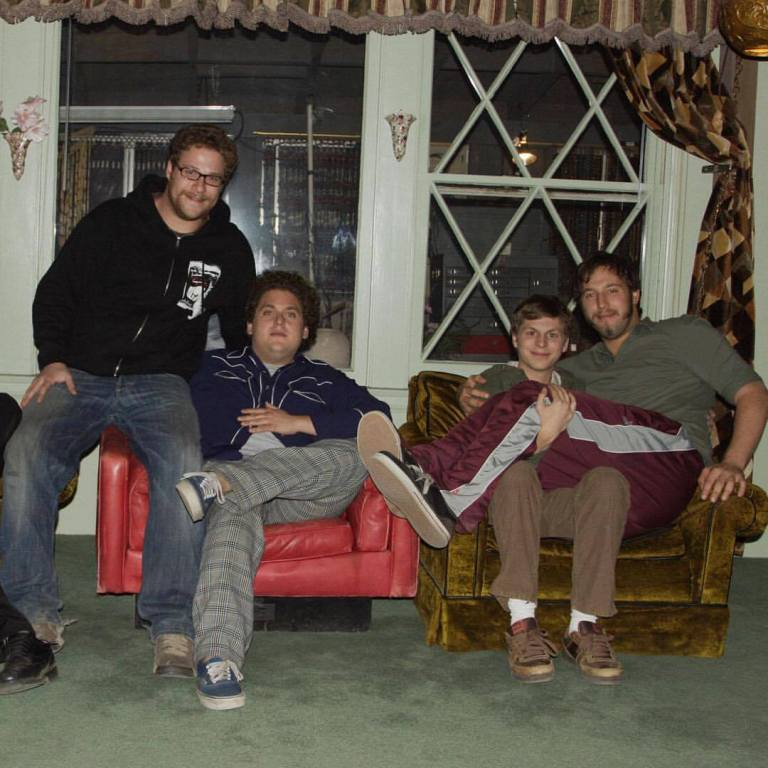 Behind the scenes photo of Michael Cera, Seth Rogen, Jonah Hill & Evan Goldberg on the set of 'Superbad' (2007)