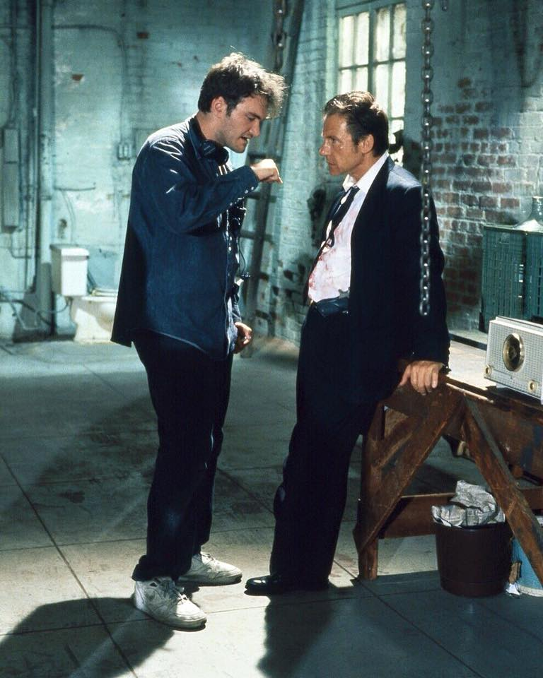 Harvey Keitel behind the scene on the set of 'Resevoir Dogs' (1992) with Quetin Tarantino
