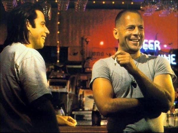 John Travolta & Bruce Willis behind the scenes on the set of 'Pulp Fiction' (1994)