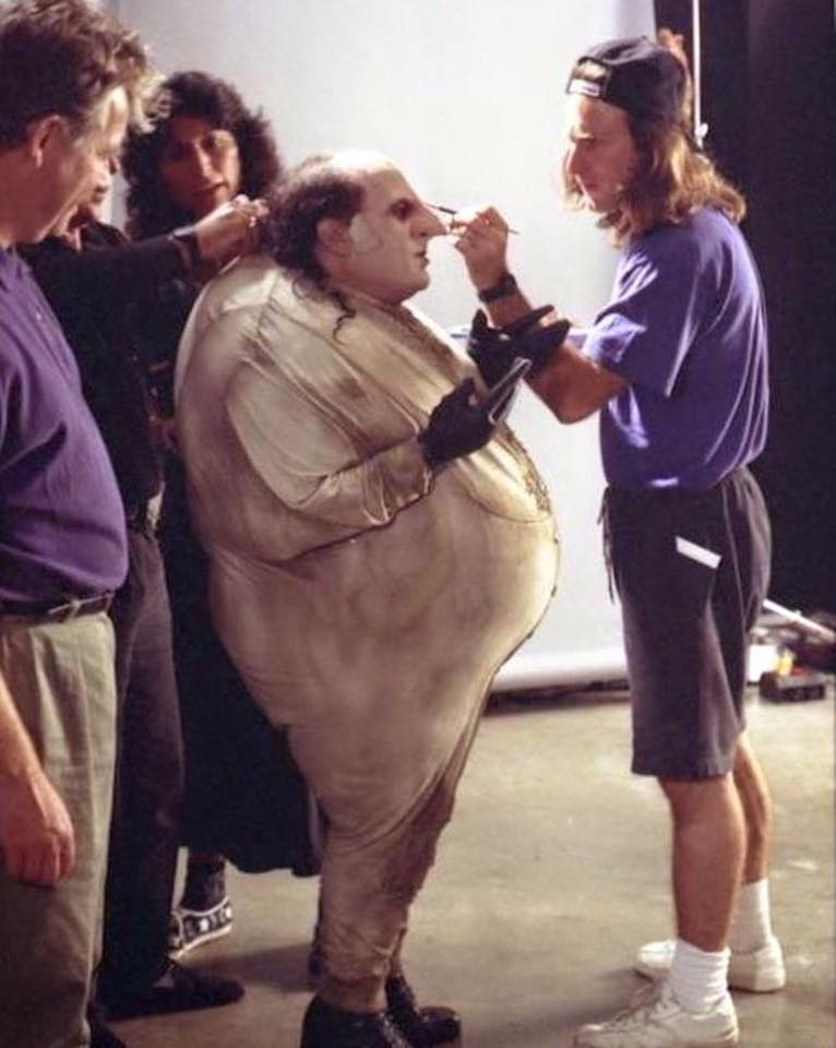 Behind the scenes: Danny DeVito with Penguin outfit getting ready for a scene in