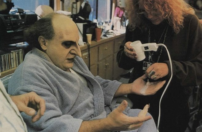 Danny DeVito during the makeup session for his role as Oswald Cobblepot, the Penguim in Tim Burton