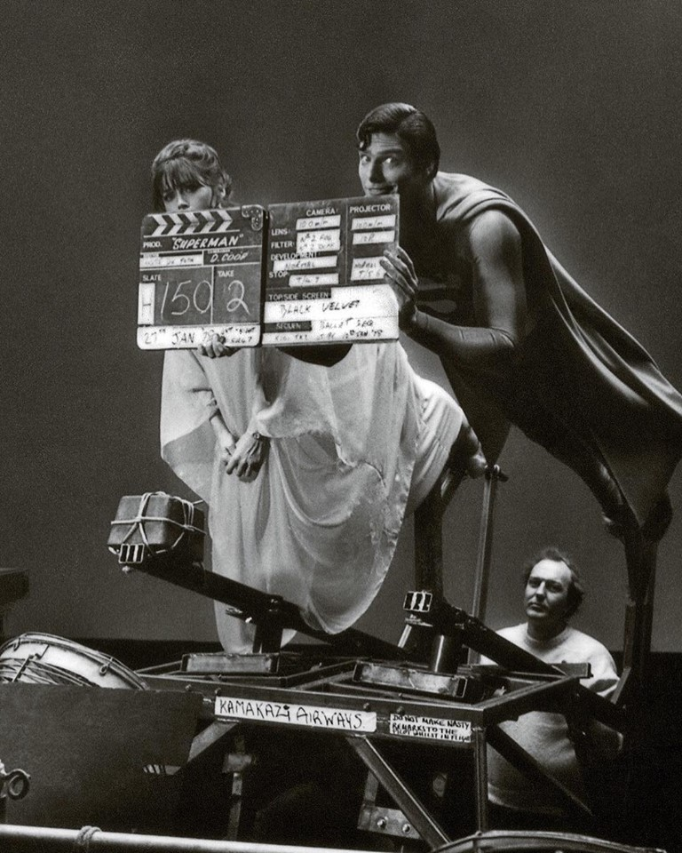 Christopher Reeve and Margot Kidder, as Superman/Clark Kent and Lois Lane, behind the scenes in 'Superman' (1978). Movie is directed by the great Richard Donner