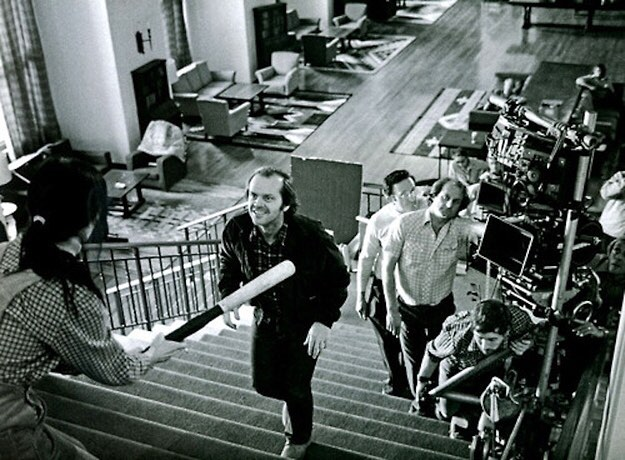 Jack Nicholson filming the notorious chase scene in