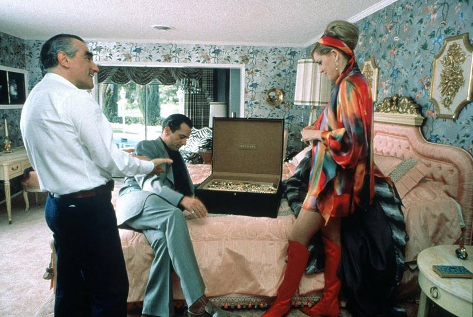 Sharon Stone with Robert De Niro and Martin Scorsese behind the Scene of
