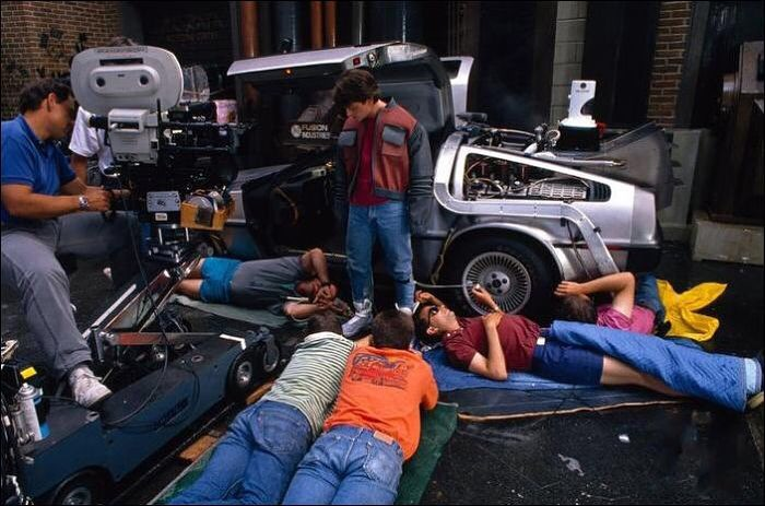 Michael J. Fox behind the scenes of 'Back to the Future Part II' (1989)
