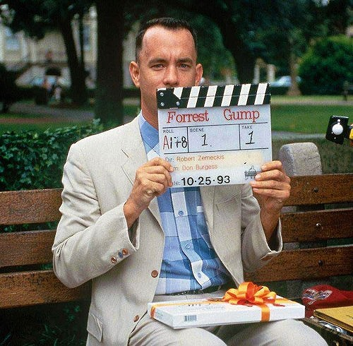 "Tom Hanks getting ready for the famous bench scene in ""Forrest Gump"" (1994)"
