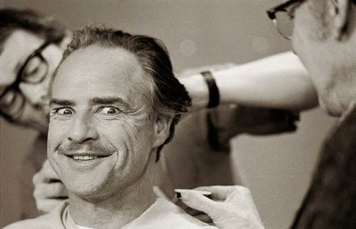 Marlon Brando during a makeup session by artist Dick Smith. On the set of 'The Godfather' (1972)