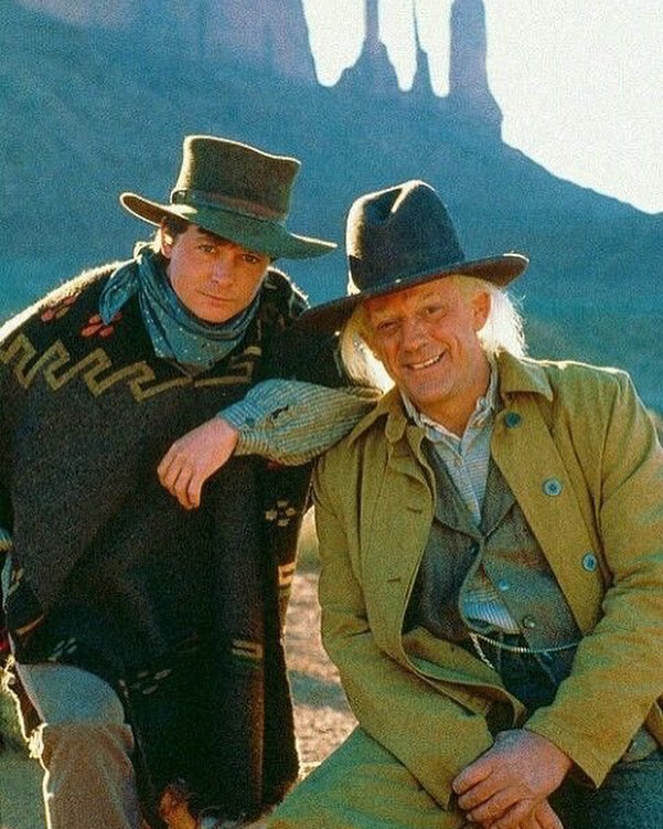 Michael J. Fox and Christopher Lloyd on the set of