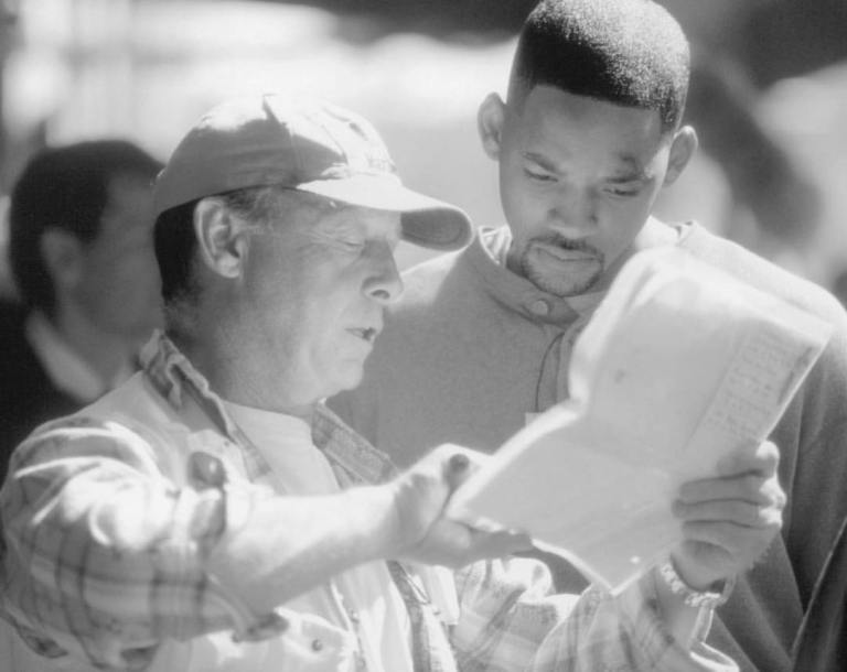 Will Smith and the late director Tony Scott during a rehearsal on the set of 'Enemy of the State' (1998)