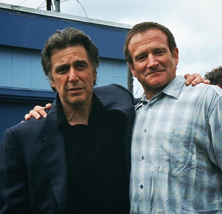 Al Pacino and Robin Williams behind the scenes of 'Insomnia' (2002). Directed by Christopher Nolan