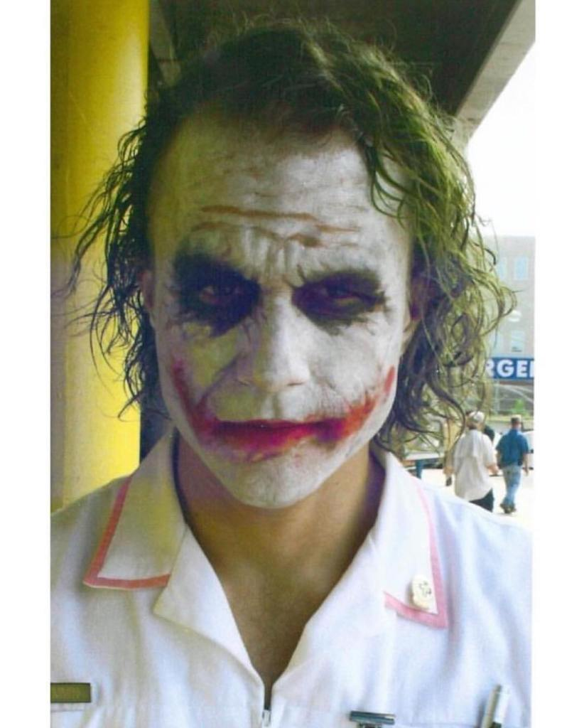 Heath Ledger on the set of 'The Dark Knight' (2008). Ready to blow a hospital