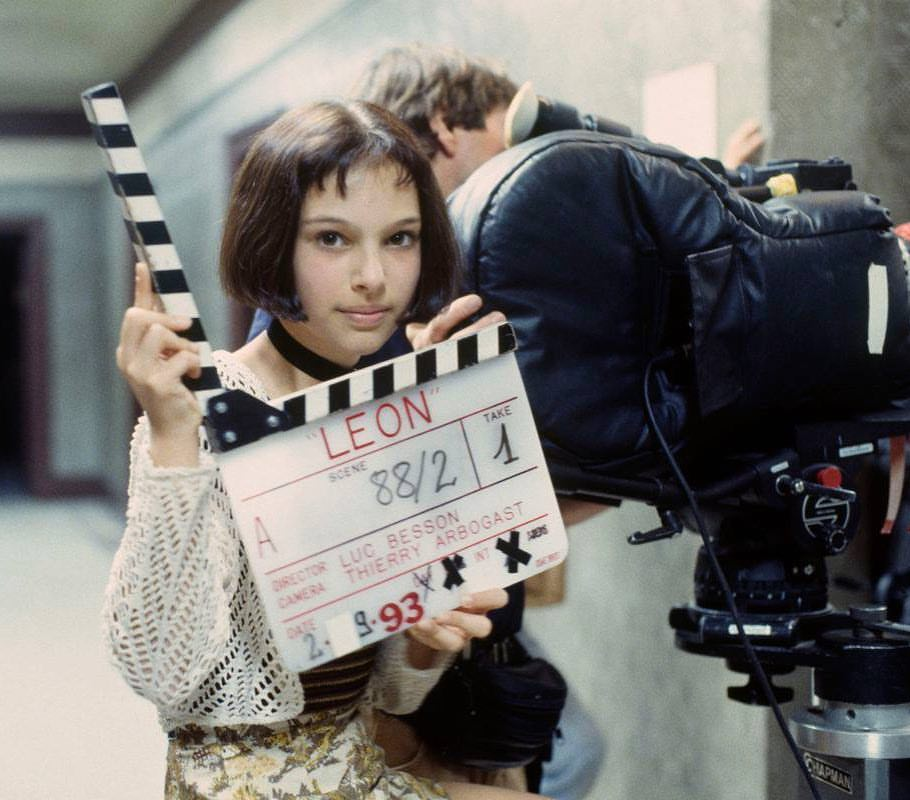 Natalie Portman behind the scenes of 'León' (1994). Written and directed by Luc Besson