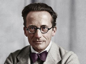Image of Erwin Schrödinger on the atom