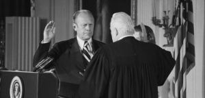 Image of Chief Justice Warren Burger swears in Gerald R. Ford as the 38th president in 1974. Chief Justice Warren Burger swears in Gerald R. Ford as the 38th president, August 9, 1974