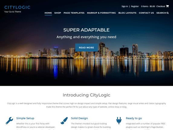 city logic Best Free Themes For WordPress