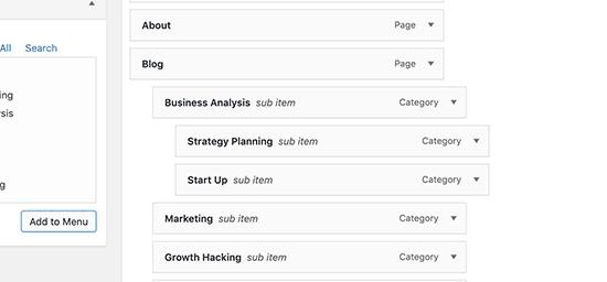 arrange menu -Add Drop-Down Menu in WordPress