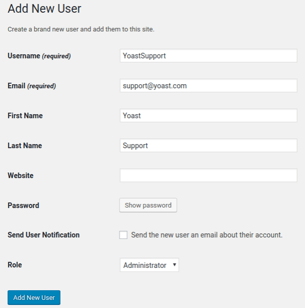 Add new user - Add new WordPress admin user