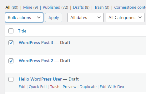 Check Box - How to Delete WordPress Posts in Bulk