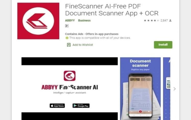Fine scanner artificial intelligence app