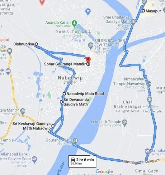 nabadwip to mayapur map
