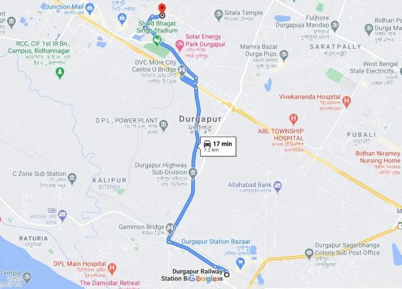 Durgapur water park route map