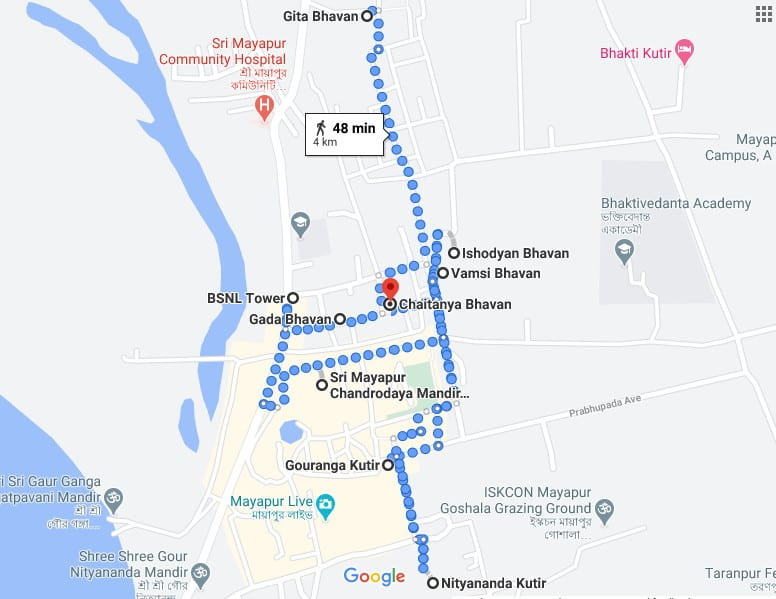 Mayapur Iskcon Temple guest house map