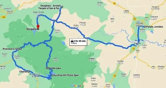 Ayodhya Hills Purulia Tour map