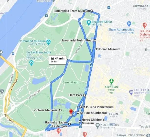 Kolkata list of places Map