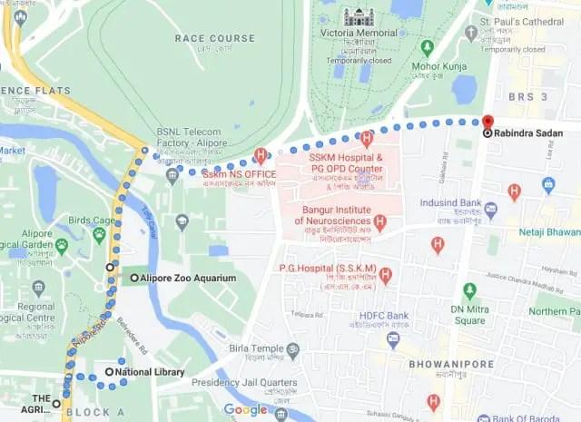 National Library Kolkata map