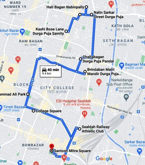 Pandal of Durga Puja in Kolkata north map