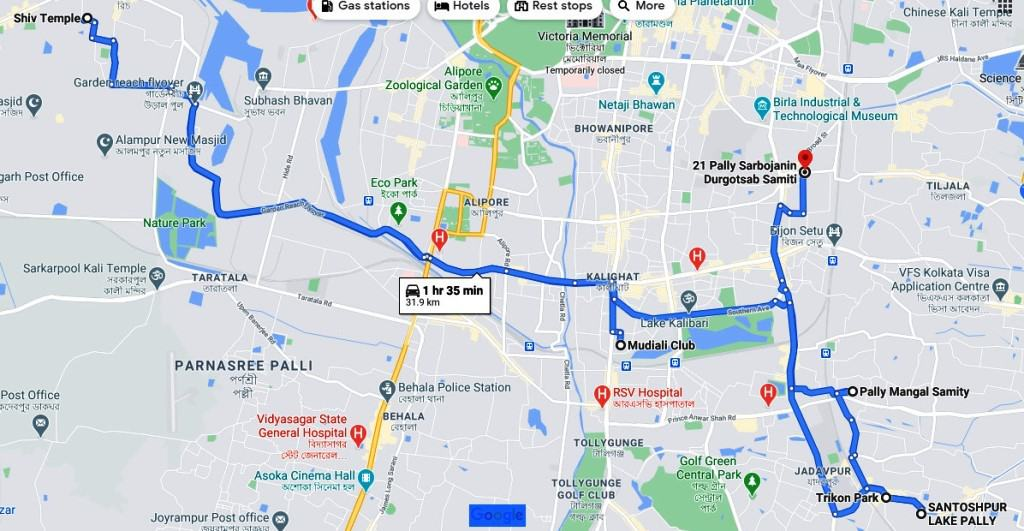Pandal of Durga Puja in Kolkata south map 3