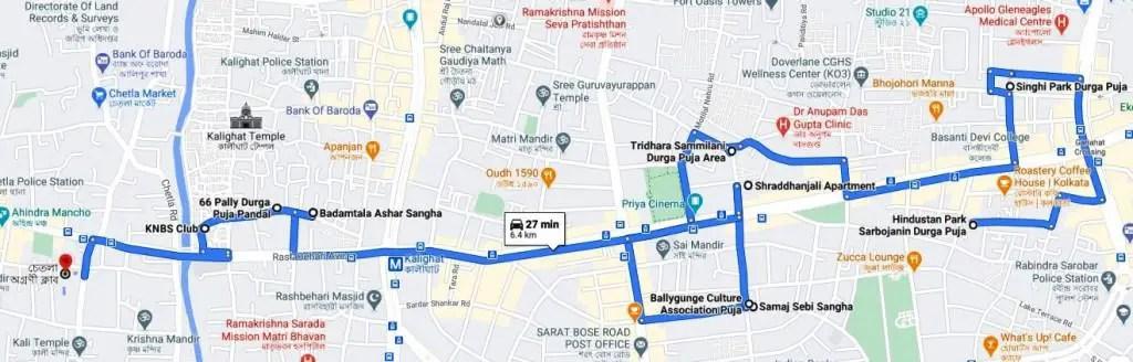 Pandal of Durga Puja in Kolkata south map