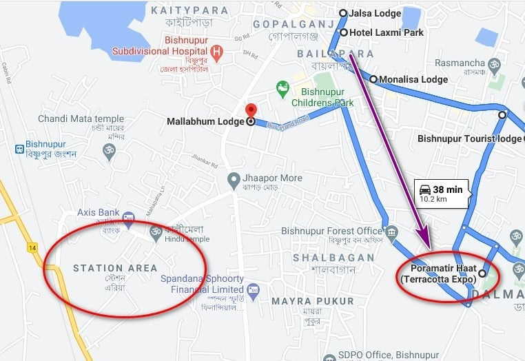 bishnupur hotel map