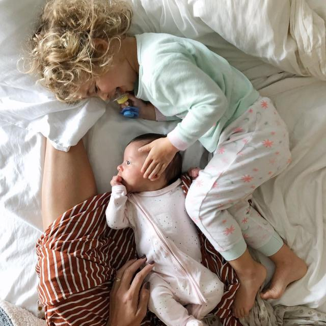 Morning cuddles with the sisters Lainey slept from midnight730am Margothellip
