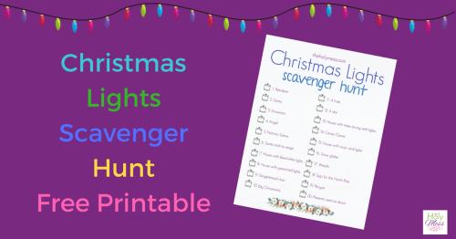 Christmas Lights Scavenger Hunt with Free Printable
