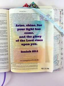 Bible journaling with tip ins Isaiah 60