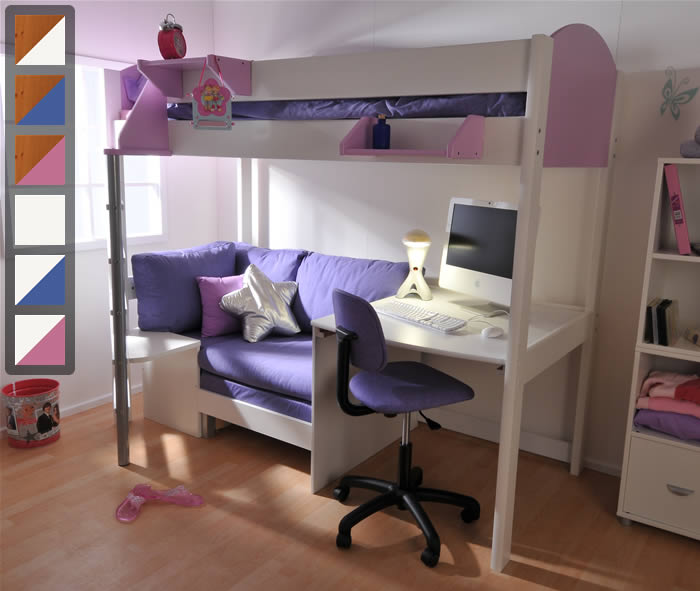 Stompa Casa 2 High Sleeper Bed With Sofa Bed And Desk