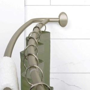 Zenna Home 35604BN Aluminum Double Curved Shower Curtain Rod