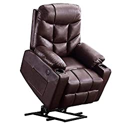 Mcombo Faux Leather Electric Power Lift Recliner Sofa for Elderly Citizen with Side Pockets