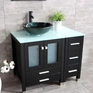 """Walcut 36"""" Vanity - Best Glass Top Bathroom Vanity with Sink"""