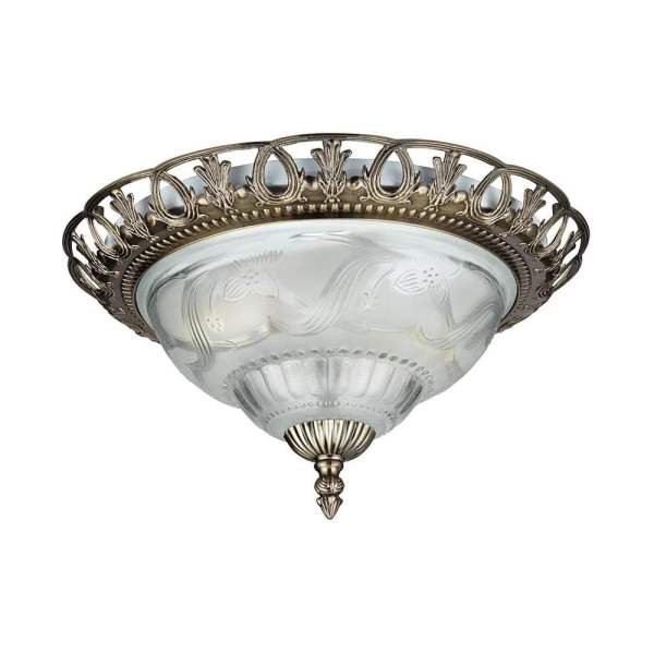 Searchlight Traditional Flush Ceiling Light In Antique Brass Finish     Traditional Flush Ceiling Light In Antique Brass Finish 7045 13