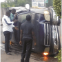 3 cheat death as vehicle tumbles in Akure